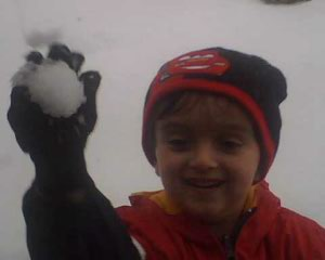 Darien throwing snow ball